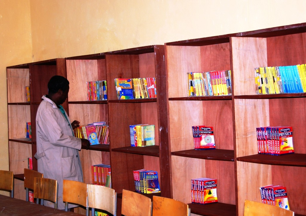 Internal view of newly constructed library in Ambassel Woreda